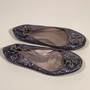 Tory Burch Glitter Flats Women Size 10 M (Wear)